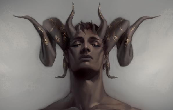 Picture face, the demon, fantasy, art, horns, guy