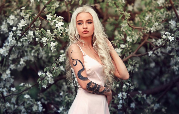 Picture girl, long hair, dress, flowers, beauty, tattoo, blonde, posing, close up