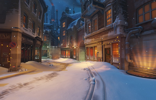 Picture snow, the city, street, the game, home, Christmas, Blizzard, Christmas, garland, shooter, Overwatch, Kings Row