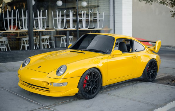 Picture yellow, Porsche, the front