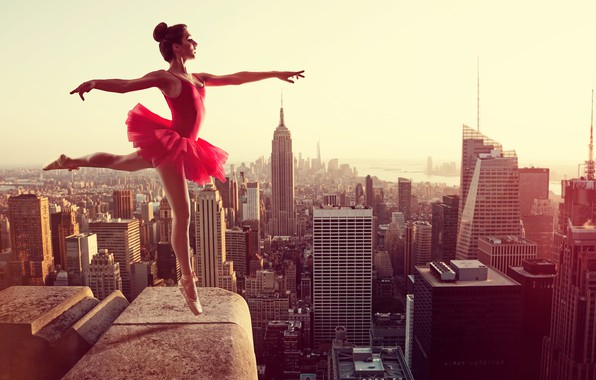 Picture roof, girl, the city, pose, height, home, dance, figure, dress, hairstyle, panorama, grace, brown hair, …