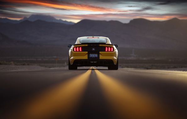Picture road, the sky, sunset, mountains, Mustang, Ford, the evening, rear view, Shelby Terlingua
