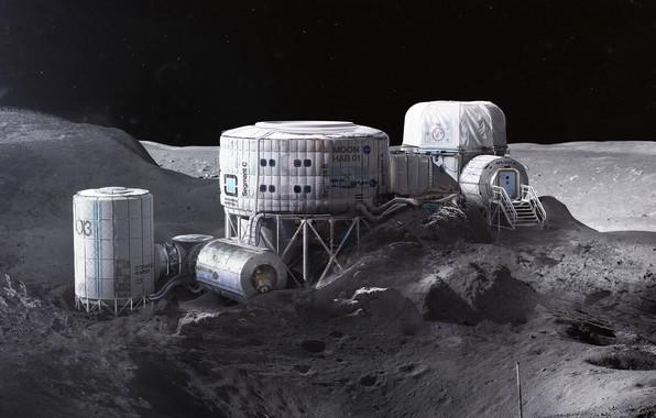 Picture hills, stars, station, base, Twardowskys Moon habitat