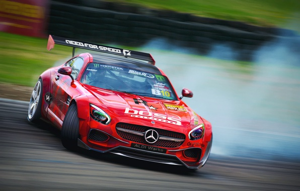 Picture sport, skid, Mercedes, drift, track, AMG, render, GT S