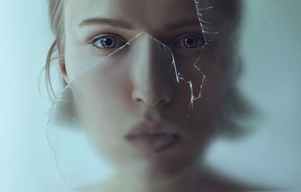 Picture glass, girl, art, François Dumoulin, Find yourself