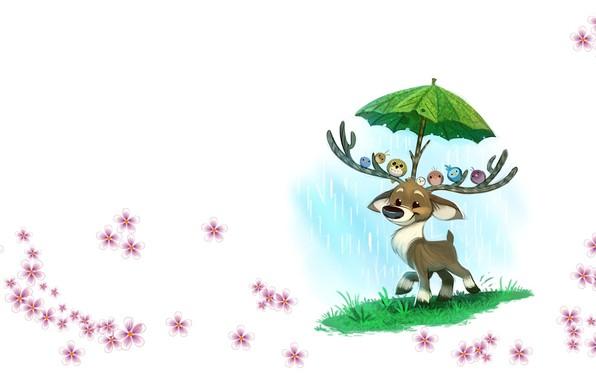 Picture the rain, deer, art, friends, children's, Piper Thibodeau, Daily Paint #1199. Raindeer