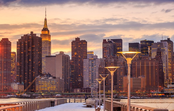 Picture winter, snow, home, New York, skyscrapers, the evening, lights, Bay, USA, benches, promenade