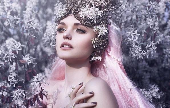 Picture look, girl, flowers, face, style, mood, pink hair, Bella Kotak, Jodi Lakin