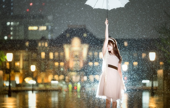 Picture girl, snow, the city, umbrella, mood, the situation, dress, Asian