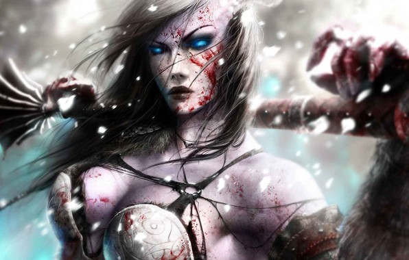 Picture girl, weapons, blood, armor