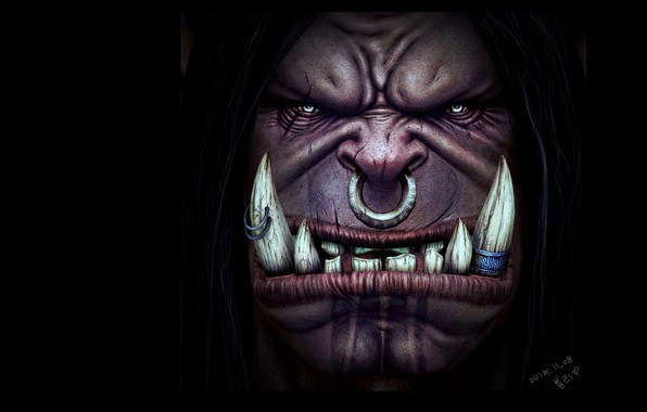 Picture fantasy, art, Orc, bli ., Grommash Hellscream 3D PAINTING!
