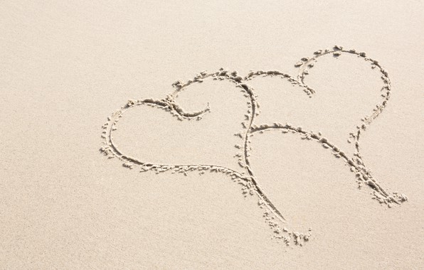 Picture sand, beach, holiday, hearts, Valentine's day