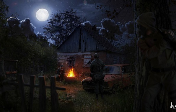 Picture night, the moon, Stalker, Stalker, Art, the fire, stalkers