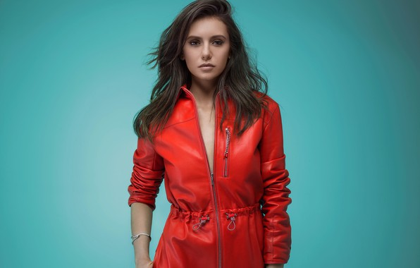 Picture look, girl, style, photo, background, jacket, beautiful, Nina Dobrev, Nina Dobrev, red