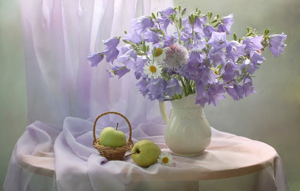 Picture flowers, table, apples, chamomile, vase, still life, bells, basket, curtain