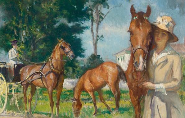 Picture girl, picture, horse, Edmund Tarbell, New Castle Poppy, Edmund Charles Tarbell