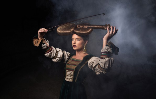 Picture girl, music, violin, hair, hairstyle, Symphony of Life