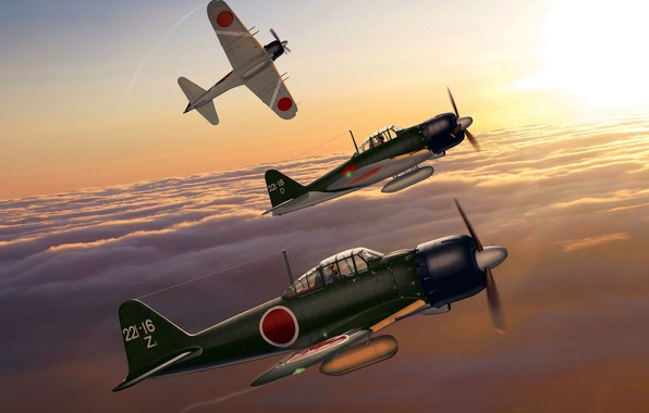 Picture Japan, art, Mitsubishi, fighter-interceptor, WW2, A6M5 Zero, The Navy of Imperial Japan