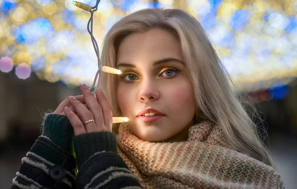 Picture eyes, look, girl, light, glare, garland, bokeh, Dmitry Levykin