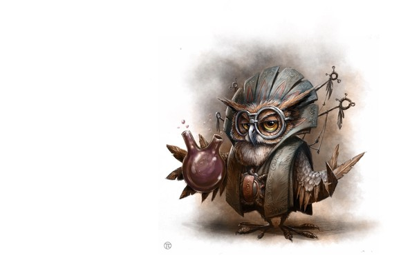 Picture owl, art, Illustrator, children's, the alchemist, As Tomek, Owl Wizard - personal work