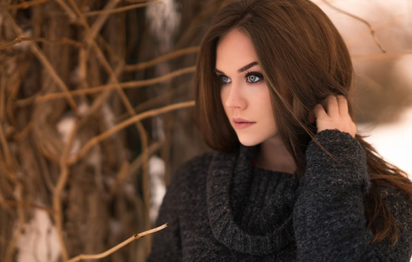 Picture winter, girl, snow, trees, branches, pose, model, portrait, makeup, hairstyle, brown hair, beautiful, sweater, bokeh, …