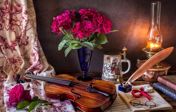 Picture flowers, style, notes, pen, violin, watch, books, lamp, roses, bouquet, glasses, mug