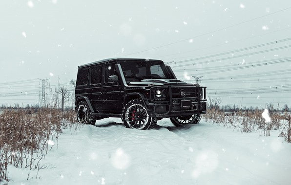 Picture Mercedes, Winter, AMG, Black, Snow, G63