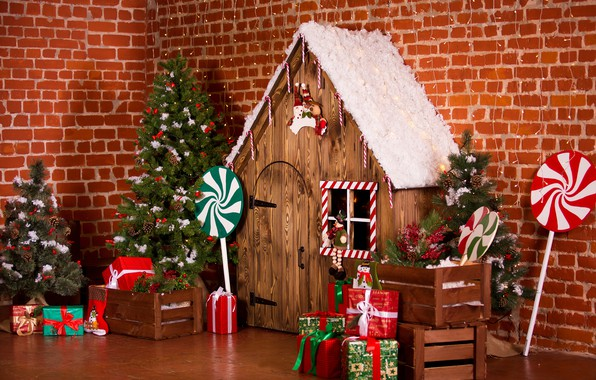 Picture holiday, gift, tree, Christmas, gifts, New year, house, Christmas decorations