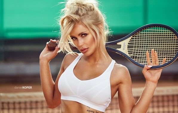 Picture girl, green eyes, photo, photographer, model, tattoo, lips, face, blonde, tennis, white top, portrait, mouth, …