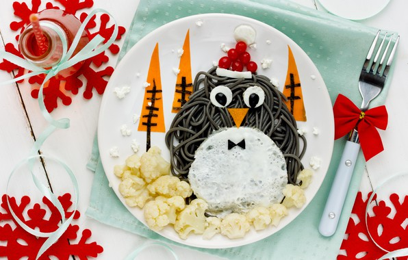 Picture decoration, New Year, Christmas, penguin, Christmas, Merry Christmas, Xmas, dish, decoration, serving, holiday celebration