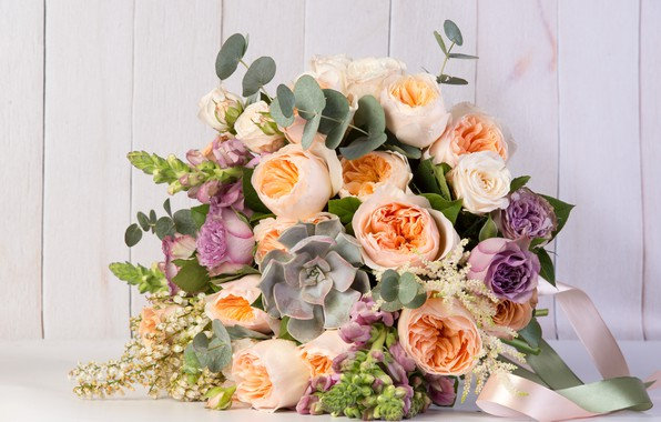 Picture greens, roses, bouquet