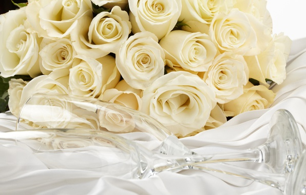 Picture bouquet, glasses, white, white roses, flowers, roses