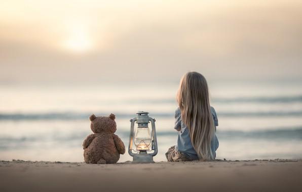 Picture sand, sea, mood, toy, girl, lantern, bear, Teddy bear