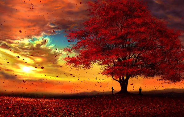 Photo wallpaper autumn, girl, sunset, kun52