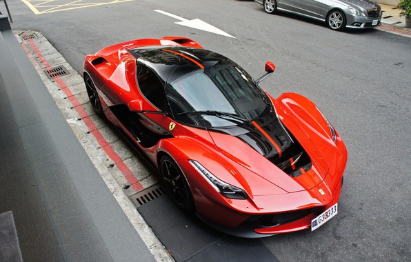 Picture road, red, Ferrari, hypercar, LaFerrari