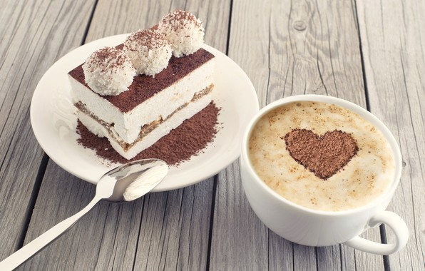 Picture heart, coffee, candy, cake, cocoa