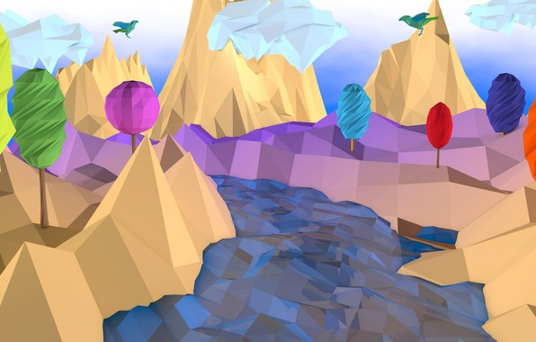 Picture trees, landscape, mountains, birds, river, low poly