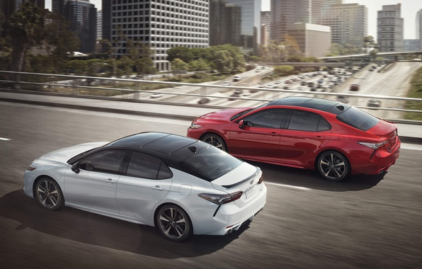 Photo wallpaper Toyota, Red, XSE, 2017, White, Camry