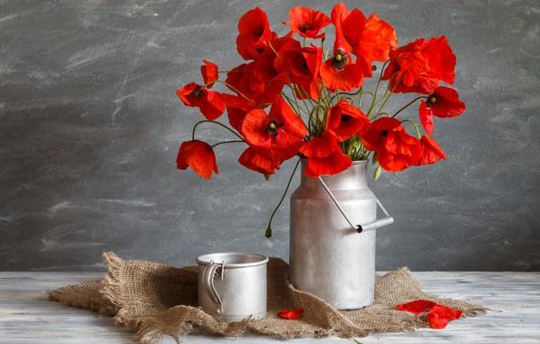 Picture flowers, Maki, bouquet, mug, cans