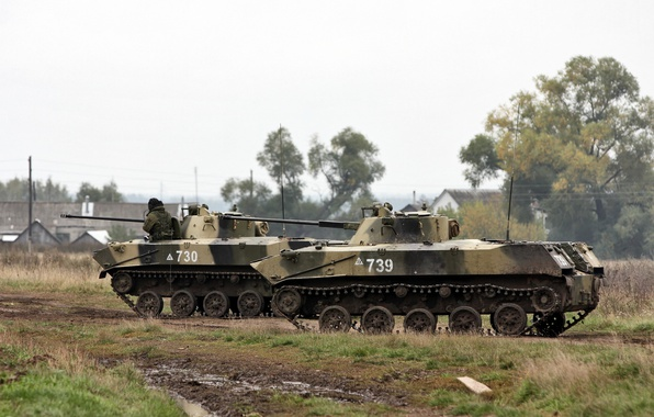 Picture exercises, BMD-2, Russian airborne troops, fighting vehicles of a landing