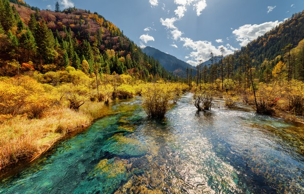 Picture autumn, forest, the sky, the sun, clouds, trees, mountains, Park, China, river, reserve, Jiuzhaigou, Jiuzhaigou