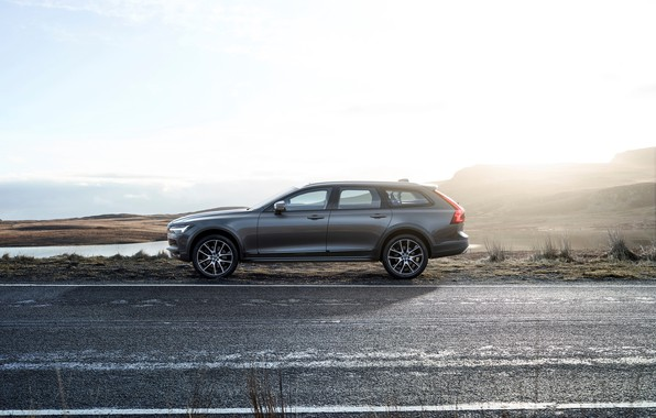 Picture Volvo, Car, Road, Silver, Cross Country, Drive, Universal, 2017, V90