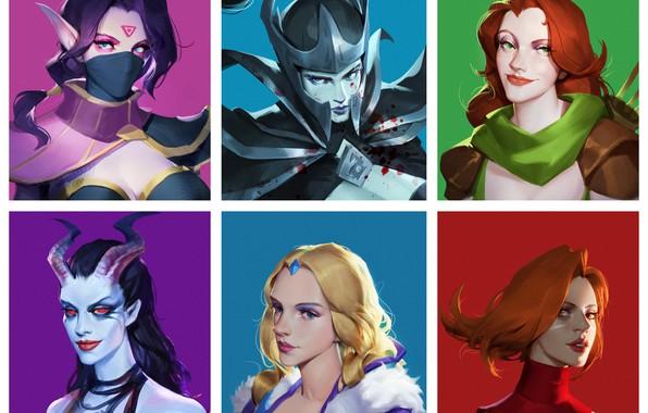 Picture Art, Girls, Crystal Maiden, Dota 2, Templar Assassin, Lina, Queen Of Pain, Phantom Assassin, Windranger, …