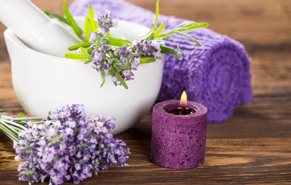 Picture flowers, candle, towel, lavender