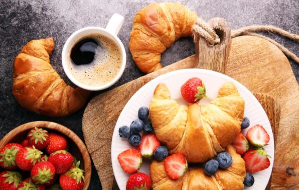 Picture berries, coffee, Breakfast, strawberry, coffee cup, strawberry, breakfast, croissant, growing