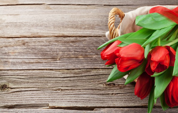 Picture love, flowers, basket, bouquet, tulips, red, love, wood, flowers, romantic, tulips