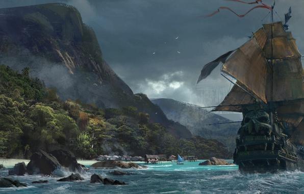 Picture sake, game, sea, pirate, island, pirate ship, wave, ship, vegetation, kaizoku, Skull and Bones