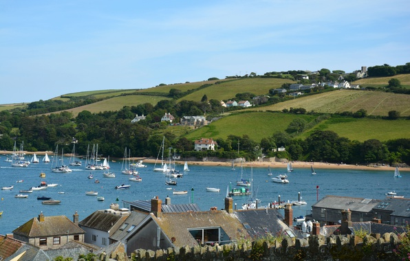 Picture field, England, Home, yachts, Panorama, Roof, Landscape, boats, England, United Kingdom, Panorama, Harbour, UK, Salcombe, …