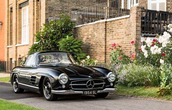 Picture black, sports car, Mercedes-Benz 300 SL, 1954 Mercedes-Benz 300 SL