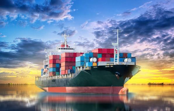 Picture blur, horizon, port, space, summer, sky, sea, marine, bokeh, wallpaper., the cargo ship, cargo ship, …
